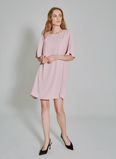 People By Fabrika Yakası Taşlı Elbise Gül Kurusu
